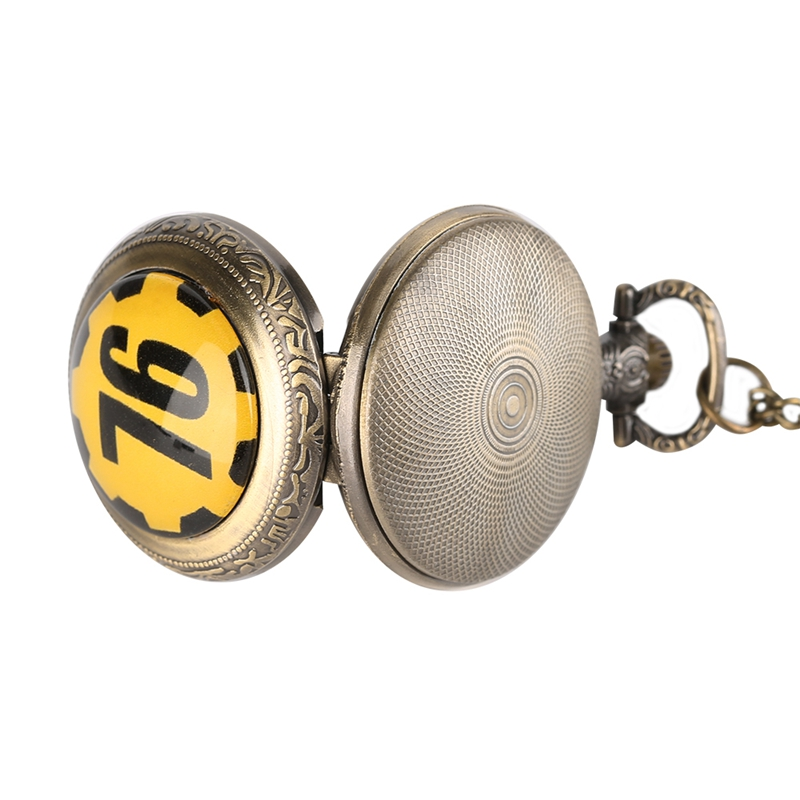 Fallout 76 Vault 111 FALLOUT 4 Theme Quartz Pocket Watch Pendant Retro Bronze Chain Necklace Unique Souvenir Gifts for Game Fans (1)