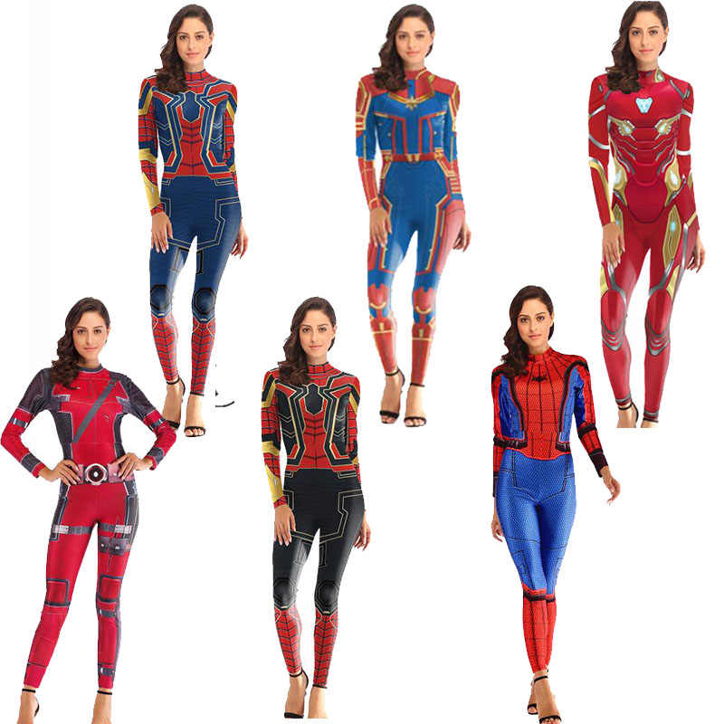 Cosplay anime traje Spiderman Capitão Marvel deadpool zentai Suit costume macacão para mulheres The Avengers cosplay geral