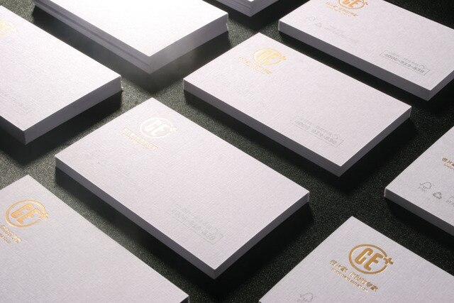 Haut De Gamme 350grm Art Papier Lin Blanc Carte Visite Avec Feuille D Estampage