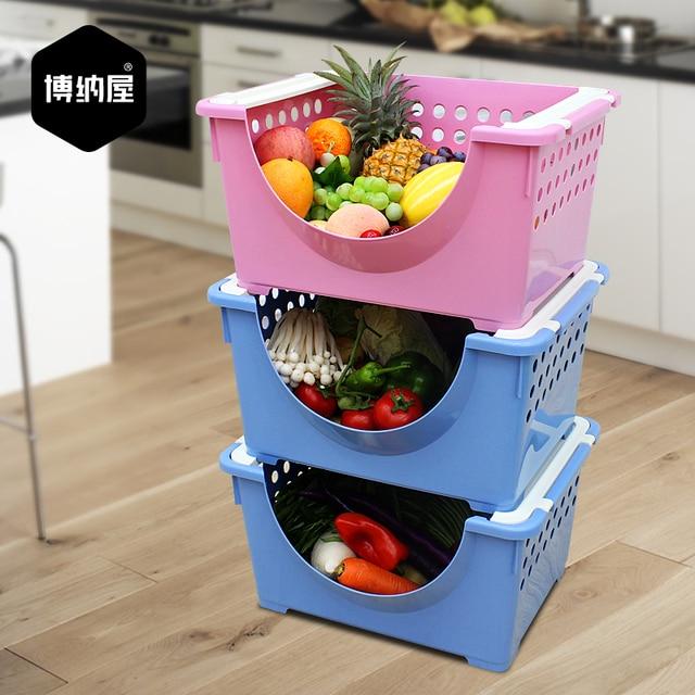 Bona House Vegetable Basket Stackable Storage Rack Large 3 Layer Plastic  Storage Baskets Kitchen Multifunction