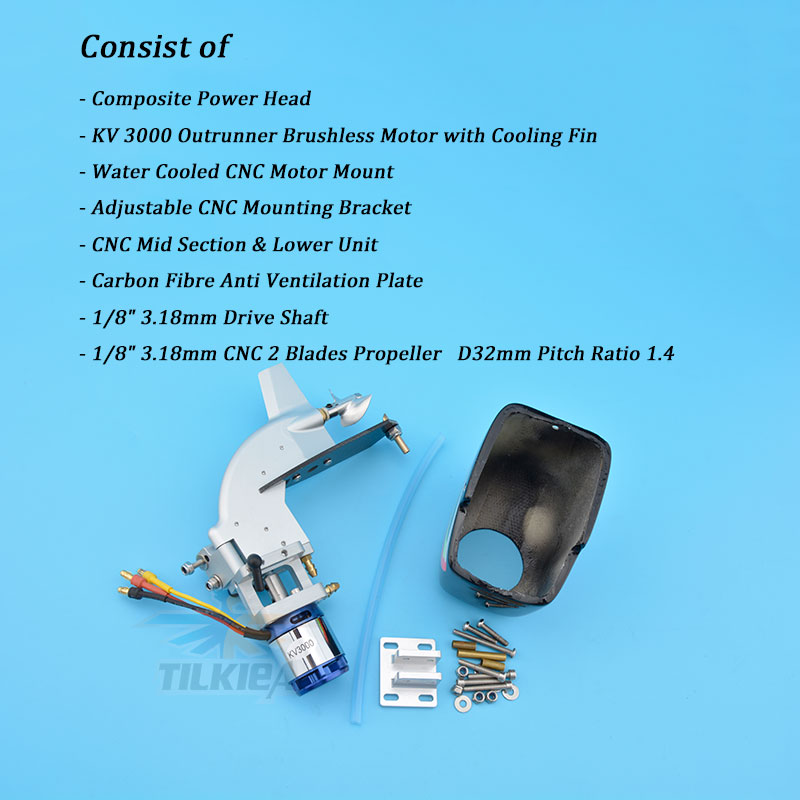 """Image 2 - CNC Rc Boat Tail Power Head Outboard Brushless Motor Prop Watercool Mount Steering Function For Electric Boat Length 24"""" to 30""""Parts & Accessories   -"""