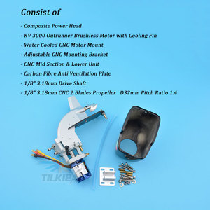 """Image 2 - CNC Rc Boat Tail Power Head Outboard Brushless Motor Prop Watercool Mount Steering Function For Electric Boat Length 24"""" to 30"""""""