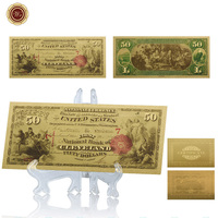WR American Luxury Home Decor 24k Colorful Gold Banknote Unique Gifts World Currency Bill Note with Plastic Stand for Desk Decor