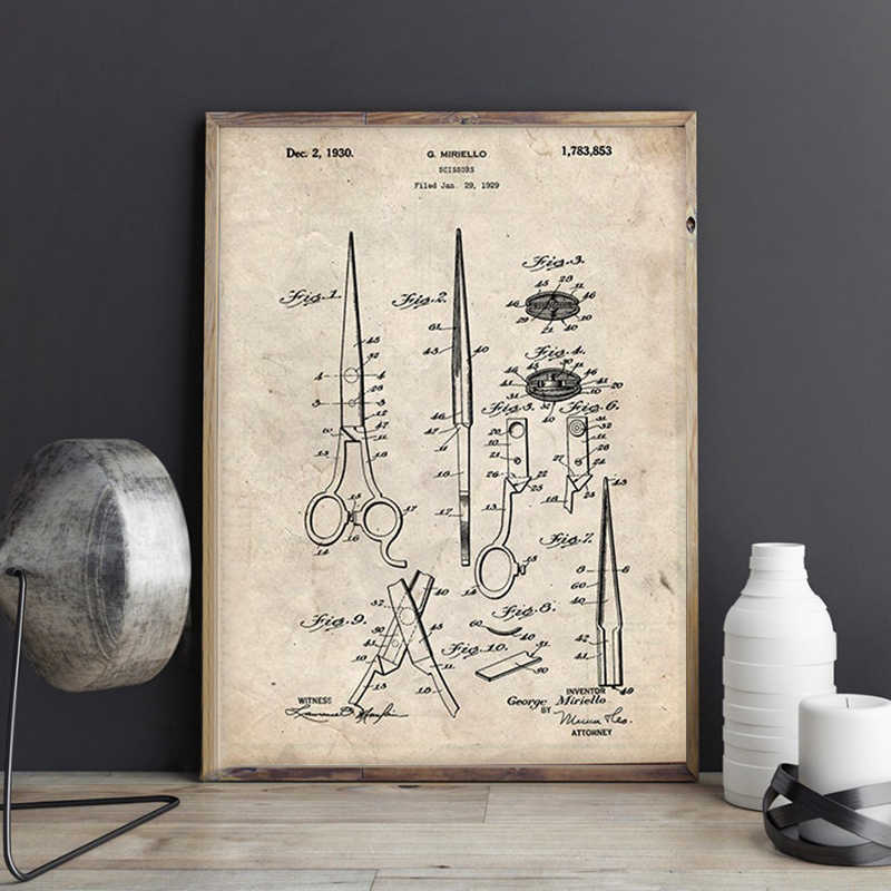 Barber Shears Patent Vintage Blueprint Posters and Prints Barbers Gift idea Barber Shop Wall Art Canvas Painting Pictures Decor