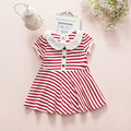 Retail-preppy style summer baby girls dress newborn Infant princess striped baby dresses vestido infantil 0-2T red