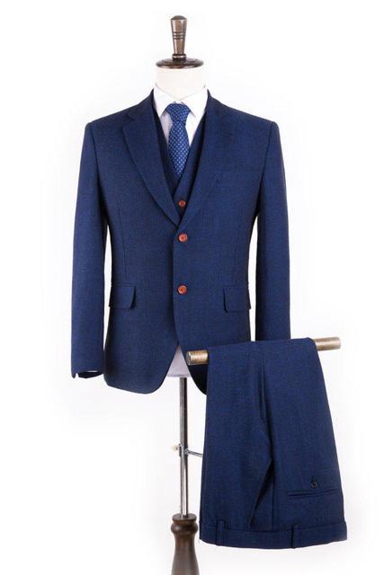 Lã Espinha de Peixe Azul Retro estilo gentleman ternos dos homens feitos sob encomenda sob medida terno Blazer ternos para homens 3 peça (jaqueta + Calça + Colete)