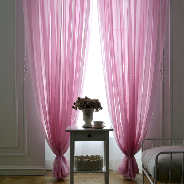 One Panels Solid Sheer Curtains For Bedroom Window Tulle Decoration  Polyester Modern Voile Curtains Organza (