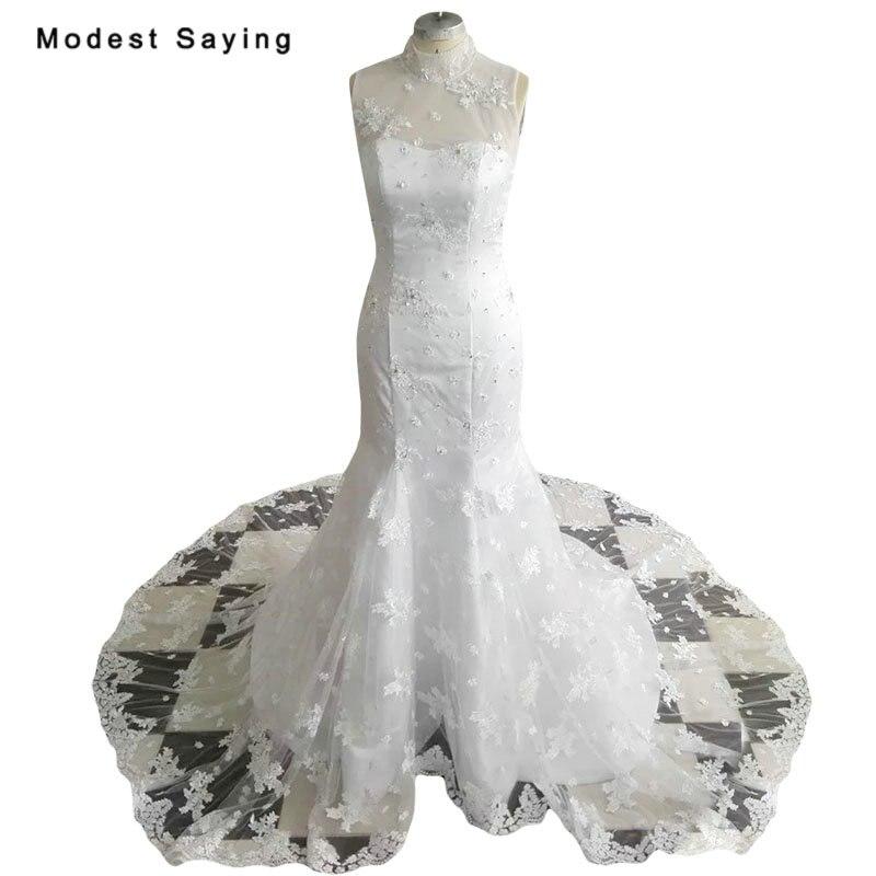 Новое поступление элегантные белые Русалка Высокий воротник Кружево Свадебные платья 2018 Формальные Для женщин бисера Свадебные платья