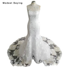 New Arrival Elegant White Mermaid High Collar Lace Wedding Dresses 2018 Formal Women Beaded Bridal Gowns vestido de noiva sereia