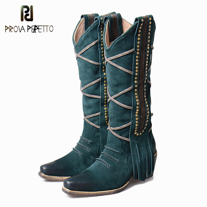 Prova Perfetto Retro Style Fringes Women Knee High Boots Chunky High Heel Rivet Studded Decoration Slip On Knight Boots ShoesProva Perfetto Retro Style Fringes Women Knee High Boots Chunky High Heel Rivet Studded Decoration Slip On Knight Boots Shoes
