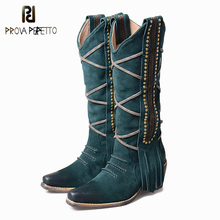Prova Perfetto Retro Style Fringes Women Knee High Boots Chunky High Heel Rivet Studded Decoration Slip On Knight Boots Shoes
