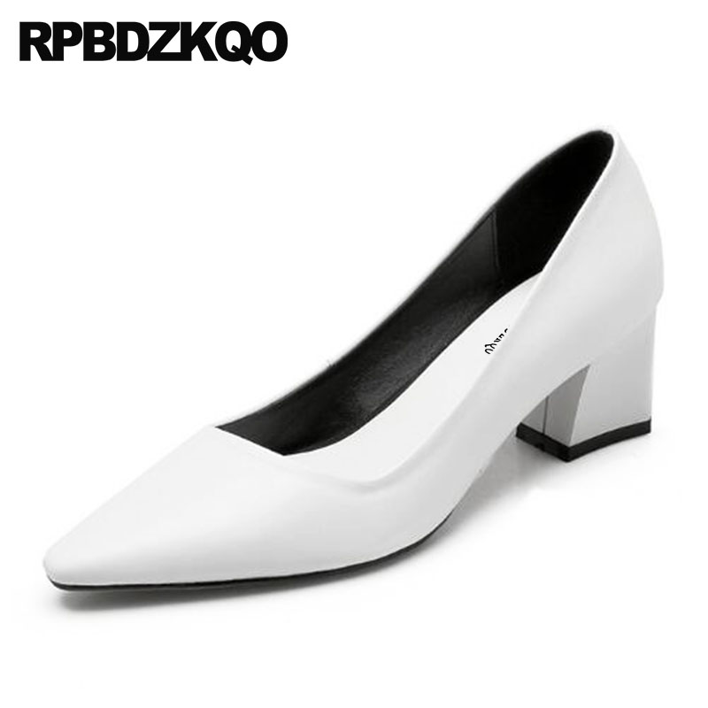Ladies Formal Shoes Office Designer Size 4 34 Medium Heels Court Pointed Toe 2018 Block Elegant Discount Black White Fashion ladies wicking antimicrobial jersey black medium