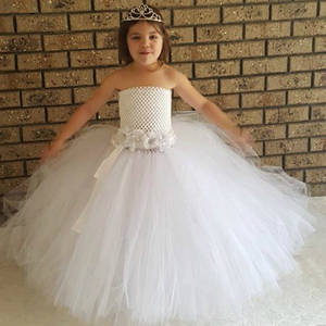 Princess Flower Girl Dresses for Wedding Party with Flora Belt White Baby Girl Baptism Dress Girl Tutu Dress for Party Occasion(China)