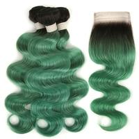 Joedir бразильские виргинские волосы объемная волна с закрытием человеческих волос Плетение Пучков с кружевной застежкой зеленый пучки волос