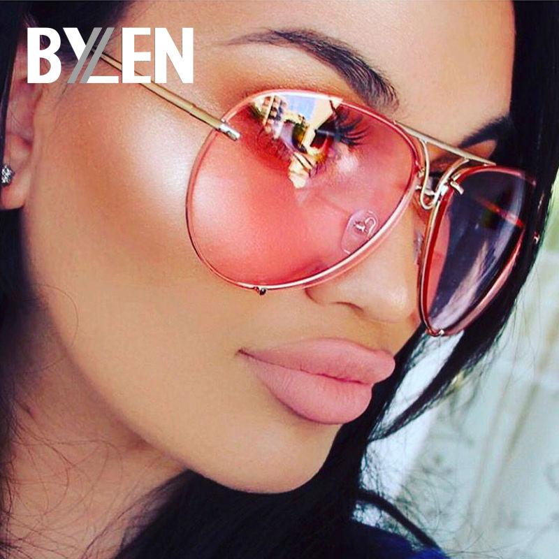 BYLEN 2018 Pilot Sunglasses Women Men Brand Designer Candy Colors Lens Sunglass for Mens Womens Oversized Frog Sun Glasses UV400