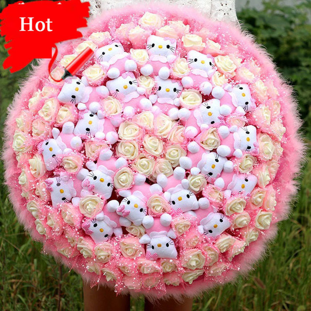 2016 Cute Cartoon Pink Artificial Roses Flowers Bouquets Plush Teddy ...