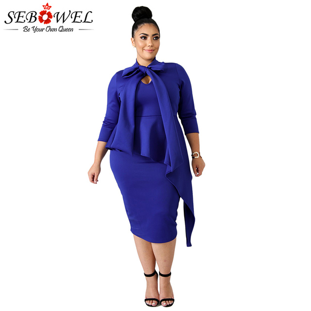 SEBOWEL Plus Size Women Sexy Blue Bowknot Bodycon Midi Party Dress 2018 Autumn  Office Lady Long 9c34afd259b8