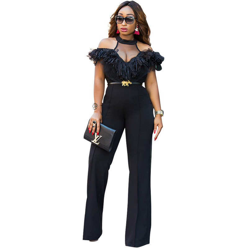 Women Fashion Sexy Spandex Clubwear Bodysuit Black Mesh   Jumpsuit