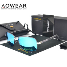 AOWEAR Driving Sunglasses Men Polarized Blue Coating Mirror