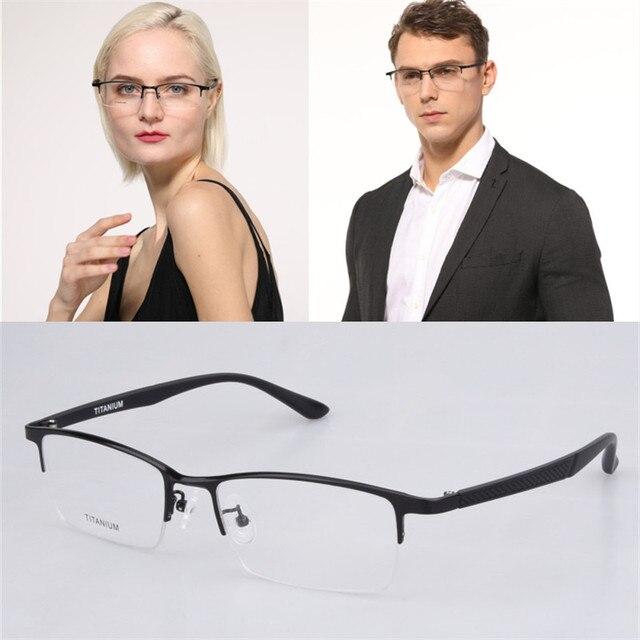 Titânio puro Quadro Glasse para homens de Negócios tamanho Grande Half-rim Eyewear Peso Leve Óculos de Prescrição Óptica Óculos