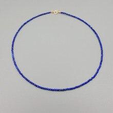 Liiji Unieke Vrouwen Ketting Healing Stone Lapis Lazuli Ca. 2Mm 925 Sterling Zilver Goud Kleur Choker Tiny Shining Ketting
