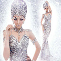 Brand New Sexy Silver Sequins Evening Cocktail Ball Gown Adult Women Stage Performance Costume