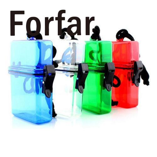 Forfar Outdoor Swim Waterproof Plastic Container Storage Case Key Box Card Holder Colorful Multicolor Sports Useful