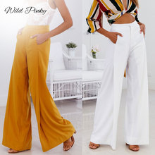 WildPinky Wide Flare Leg Pants Women High Waist Casual Solid Fashion Spring Summer 2019 Long Trousers Capris Female
