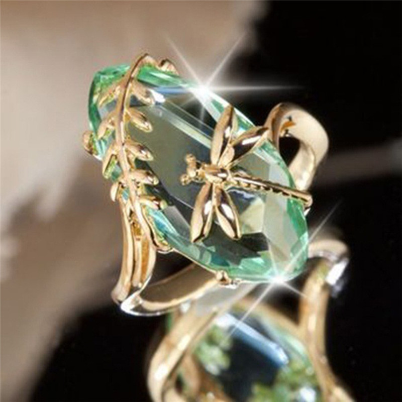 Dragonfly-Ring Jewelry Bague Green-Stone Gold-Color Retro Women for Girl Anniversary