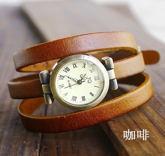 Hot Sales Vintage Three Cicles Cow Leather Watch Women Ladies Dress Quartz Wrist