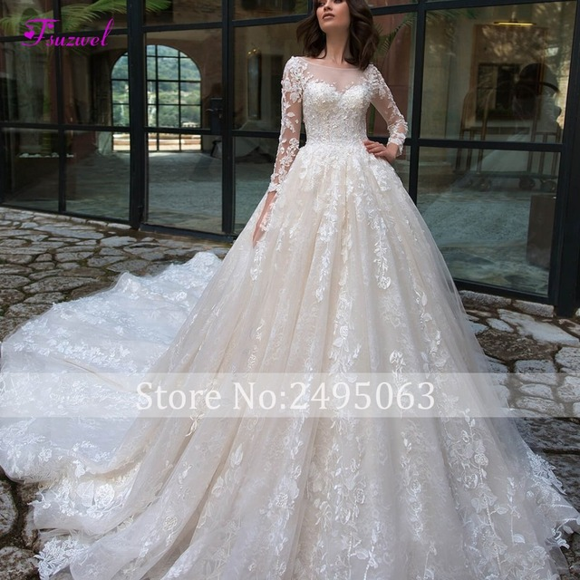 Chapel Train Lace A-Line Wedding Dress 4