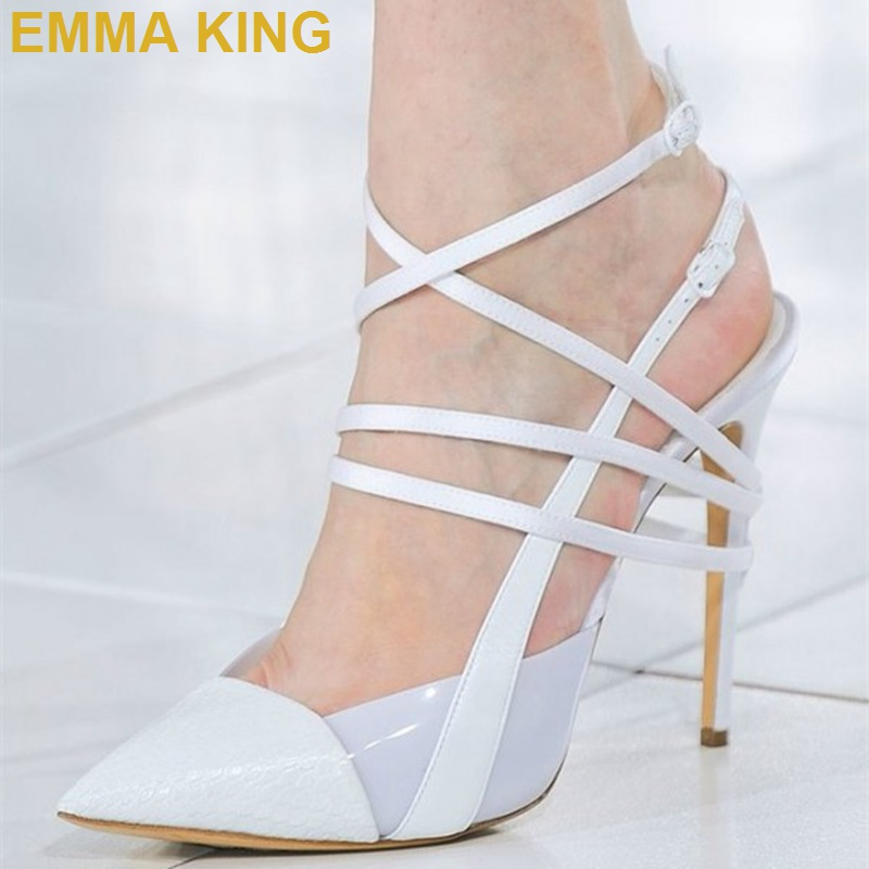 EMMA KING White Summer Shoes 2019 Women Slingback Sandals Plus Size High Heels Ankle Strap Buckle Stiletto Heels Femme Shoes New