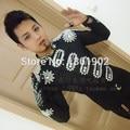 Moda Strass Dragona outerwear jaqueta preta casaco jazz mostrar magro boate desempenho ds dj cantor dancer costume outfit