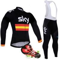 Sky 2018 Pro Team Men's Autumn Thermal Fleece Cycling Jersey Set Gel Pad Bib Pants Sets Ropa Ciclismo Invierno MTB Bike Clothing