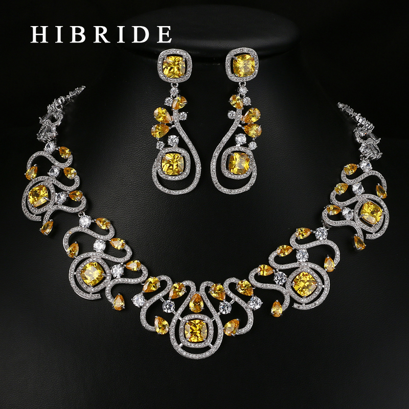 HIBRIDE Luxury New Design Multicolor Cubic Zirconia White Gold Color Women Wedding Smykkesett N-62