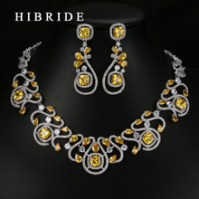 HIBRIDE Luxury New Design Multicolor Cubic Zirconia White Gold Color Women Wedding Jewelry Sets N-62