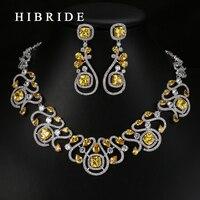 HIBRIDE Luxury New Design Multicolor Cyrkonia Biały Złoty Kolor Kobiety Biżuteria Ślubna Zestawy N-62