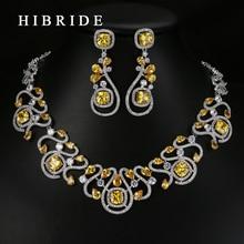 HIBRIDE Luxury New Design Multicolor Cubic Zirconia White Gold Color Women Wedding Jewelry Sets N-62
