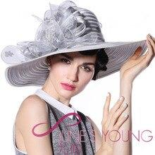 Free Shipping Women Hats Church Hats Flower Organza Bow Silver Church Hat Satin Fabric