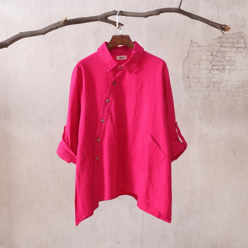 Women Cotton Linen Irregular Hem Shirts Ladies Long Sleeve Loose Blouse Solid Color Single Breasted Shirts 2017 Spring Summer 10