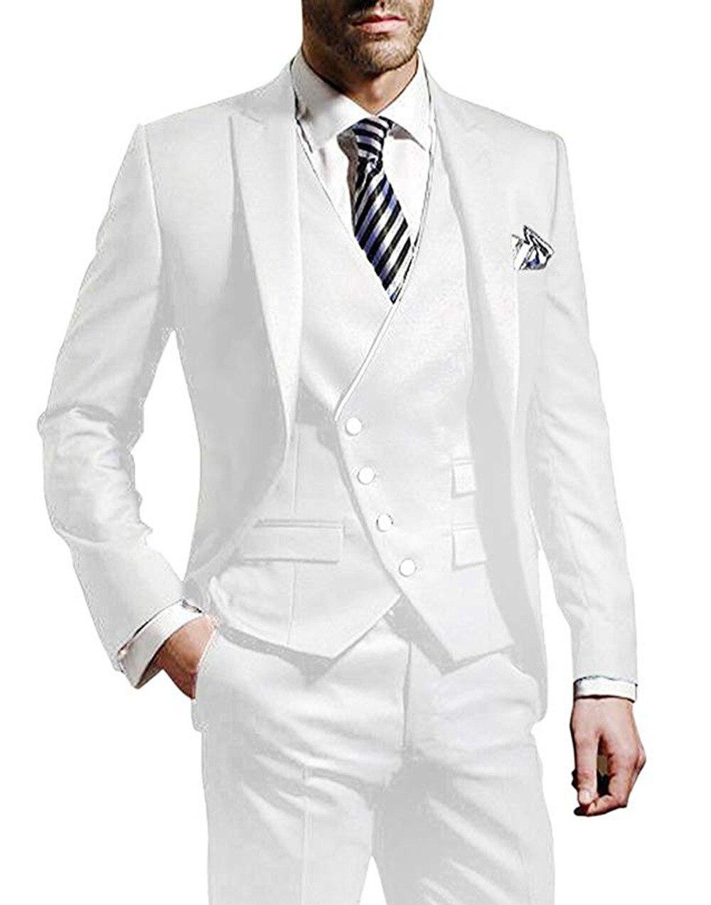 Erkek Kıyafeti'ten T. Elbise'de 3 adet Erkek takım elbise Çentikli Etiket Beyaz groomsuit blazer bir düğme resmi iş elbisesi Smokin (Blazer + yelek + pantolon)'da  Grup 1