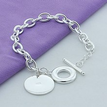 Free Shipping 925 Silver Bracelets Round Charm Chain Jewelry For Girl Srebrna Bransoletka Pulsera