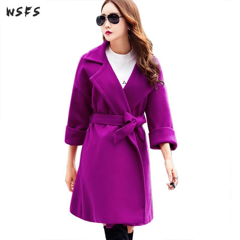 Winter Womens Coat Purple Long Sleeve Wool Coats Office Ladies Belt Elegant Woollen Trench Loose 2019 Woolen Overcoats Outerwear