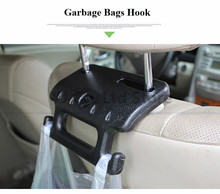 New Black Double Vehicle Hangers Auto Car Seat Organizer Bag Hook Holder Back Handle & Garbage Bags Safety