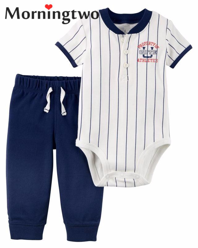 2018 New Arrival 2 Pcs Baby Boys Clothes Set With Short Sleeve Bodysuits+Long Pant Baby Jumpsuit Set For 0-2y