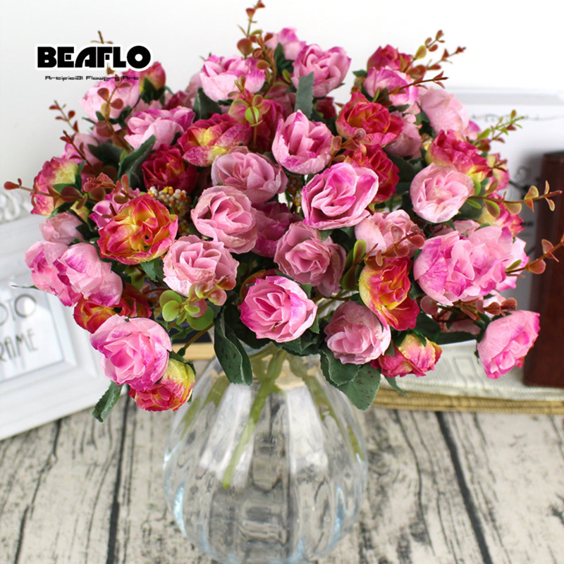 Image 4 - 1Bunch Fresh Artificial Rose Flowers 21 heads Romantic DIY Fake Silk floral for Wedding Party Home Decoration-in Artificial & Dried Flowers from Home & Garden