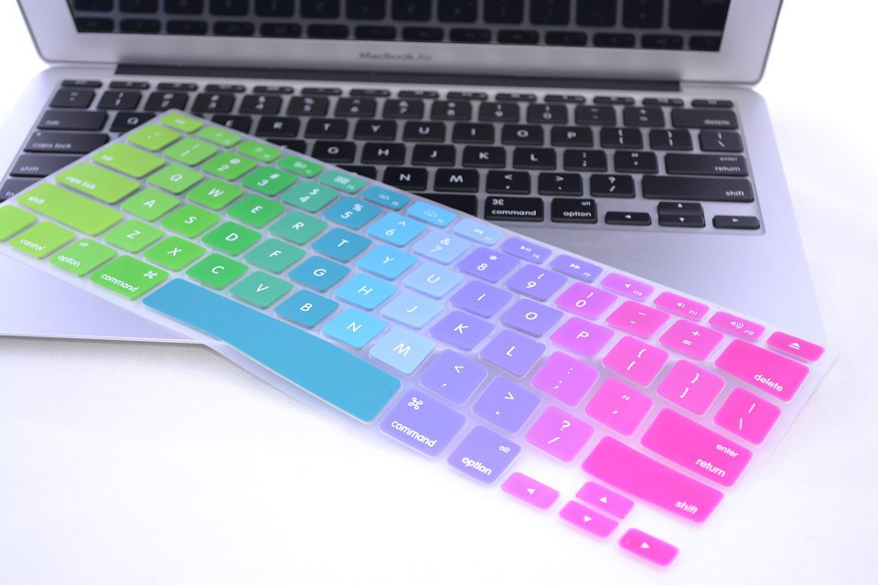 new product 96d4b 772f3 US EU UK rainbow silicon keyboard cover for Apple macbook air 13 pro 15  retina 17 inch protector for imac 21.5 wireless keyboard
