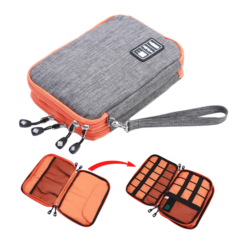 Waterproof 2 Layer USB Cable Storage Bag Electronic Organizer Digital Gadget Case Travel Cellphone Charge Mobile Charger Holder gadget
