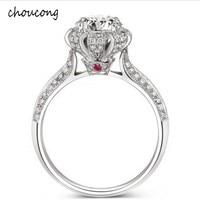 100% г. Роскошные реальных твердых серебряное кольцо инкрустация Природный кристалл кольцо 5.5 мм 1.2ct CZ Diamant Обручение обручальное кольцо для д