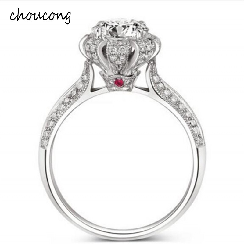 Luxury 100% Real Solid Silver Ring Inlay Natural Crystal Ring Set 5.5mm 1.2ct CZ Diamant Engagement Wedding Ring For WomenLuxury 100% Real Solid Silver Ring Inlay Natural Crystal Ring Set 5.5mm 1.2ct CZ Diamant Engagement Wedding Ring For Women